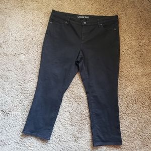 Lands End Black CapriJeans Sz 18 Mid Rise Straight